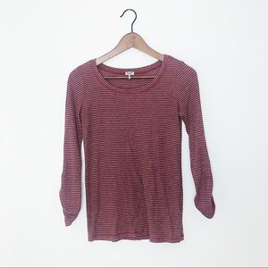 Splendid Striped Thermal Ribbed Long Sleeve Top